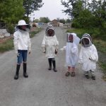 Our kids going to check on their hives